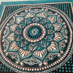 Mandala artwork in turquoise blue sculpture by TheWhitePetalsArt