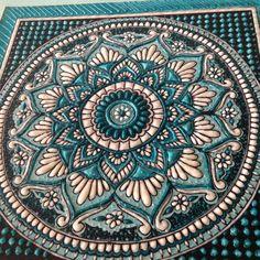 Mandala artwork in turquoise blue, sculpture and ceramics, unique ceramic…