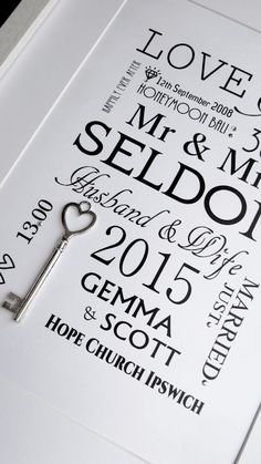 Lucky Silver Key Wedding Print#wedding #marriage #gift #keepsake www.wowlovethis.co.uk