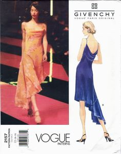 Vogue 2157 (1998) by Alexander McQueen for Givenchy (1998) Asymmetrical bias-cut dress