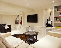 The following list is some tips on how to create a beautiful space while retaining the useful character of a basement.