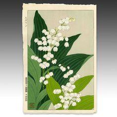 Lily of the Valley. SHODO KAWARAZAKI. JAPAN. 1954. Woodblock Print.