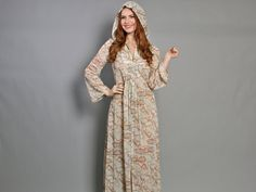 70s flapper novelty print maxi dress with hood