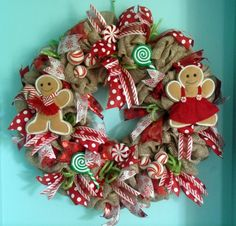 Gingerbread and Candy Holiday Deco Mesh Wreath by MeshWreathsnMore
