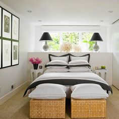 Rooms with low ceilings tend to feel a little claustrophobic. Relieve the suffocation with crisp, light colors. A bright white or gray on the walls will distract from the diminutive height. Punctuate the space with lines of bold color, such as a striking stripe on the bedding or a series of gallery frames in the same hue. Here, black does the trick, creating a modern, animated bedroom.