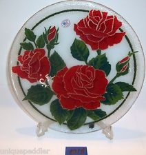 """PEGGY KARR FUSED ART GLASS 11"""" ROUND PLATE RED ROSES"""