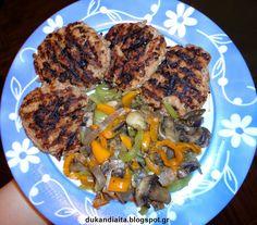 Όλα για τη δίαιτα Dukan: Μπιφτέκια Ντουκάν ζουμερά με ζεστή σαλάτα λαχανικώ... Healthy Food Choices, Healthy Tips, Healthy Eating, Healthy Recipes, Dukan Diet Plan, Low Carb Menus, Low Carb Cheesecake Recipe, 7 Day Meal Plan, Ketogenic Diet For Beginners