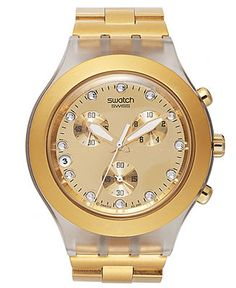 Swatch Watch, Unisex Swiss Chronograph Full-Blooded Gold-Tone Aluminum Bracelet 43mm SVCK4032G - Watches - Jewelry & Watches - Macy's