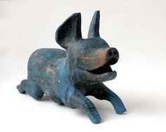Pig Folk Art Hand Carved Wood Pig Weathered Blue