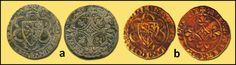 Numisarchives. Numismatic. Jetons. Navarre: Jetones con escudo dimidiado Navarra/Evreux, y cruz del reverso arqueada. a: Tipo 063; b: Tipo 066 (ambos ejemplares presentan el mismo cuño de anverso y diferentes reversos).