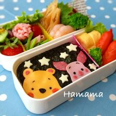"Winnie the Pooh & Piglet ""noriben"" bento box Bento Box Lunch For Kids, Cute Bento Boxes, Lunch Boxes, Japanese Bento Box, Japanese Dishes, Bento Recipes, Bento Ideas, Lunch Ideas, Food Ideas"
