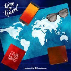 Aquarellkarte mit reiseelementen Kostenlosen Vektoren Adobe Illustrator, Layouts, Sunglasses Case, Watercolor Map, Badge, Vectors, Viajes, Cards