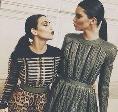 Kim Kardashian and Kendall Jenner Balmain Kim Kardashian, Kardashian Family, Balmain, Besties, Bff, Valentino, Reality Shows, Kim K Style, Edgy Style
