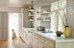 white kitchen, floating shelves, subway tiles, brass hardware, pendant light  Bonesteel Trout Hall