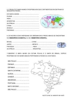 Avaliação geografia Primary School, Word Search, Words, Earth Science Activities, Geography Activities, Maps, Visual Arts, Routine, Upper Elementary