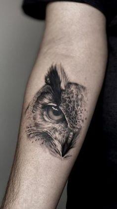 Owl Tattoo Back, Owl Forearm Tattoo, Owl Tattoos On Arm, Owl Eye Tattoo, Mens Owl Tattoo, Owl Tattoo Small, Owl Tattoo Drawings, Animal Sleeve Tattoo, Animal Tattoos For Men