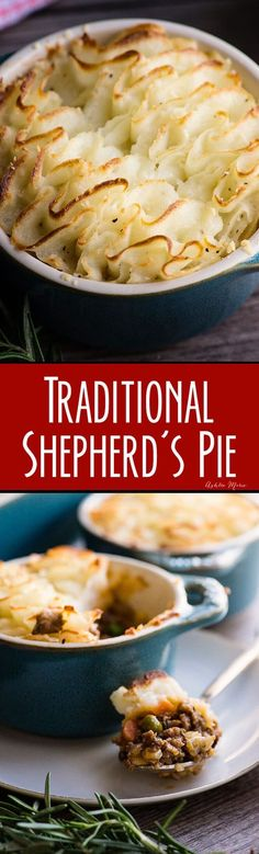 This traditional shepherds pie recipe is easy and delicious - the meat mixture is full of flavor and the mash is creamy and satisfying.