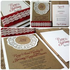 Wedding Invitation  RUSTIC  Olde Rose Collection  by kandvcrafts, $6.00