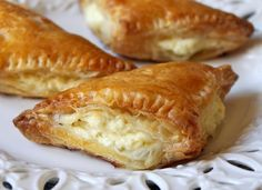 Tiropita is a Greek-style feta cheese filled appetizer made with pastry. In this Americanized recipe, puff pastry is used for a light and savory snack. Greek Appetizers, Cheese Appetizers, Appetizer Recipes, Greek Desserts, Cheese Snacks, Cheese Food, Goat Cheese, Phyllo Dough Recipes, Feta Cheese Recipes