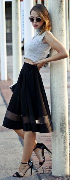 Grey Ribbed Crop + Black Full A-Line Bottom Mesh Trim Skirt                                                                             Source