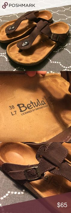 Betula by Birkenstock gizeh Thongs size 38 Betula by Birkenstock gizeh Thongs size 38.  Beautiful brown suede Gizeh thong sandals.  These are in excellent condition, worn once or twice.  Adjustable strap. Birkenstock Shoes Sandals