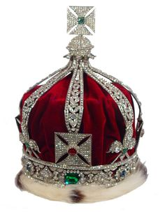 The Imperial Crown of India was made for King George V in 1911, when he was acclaimed Emperor of India. A special crown had to be made as the Imperial State Crown cannot be taken out of England. The crown has eight half arches and it contains a remarkably fine emerald, a number of other emeralds, sapphires, & 6000 diamonds all sent from India.