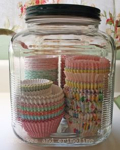 Cupcake wrapper storage, like that you can see what you have, and they won't fall out of the lazy-susan!