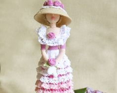 Cloth doll, Rag doll, Amigurumi Crocheted doll, Art doll Rose Lady, gift idea for girl and mom, ooak amigurumi doll