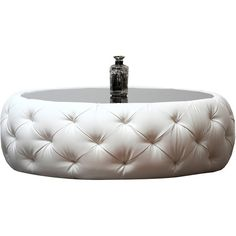 Coffee Table: Abbyson Living Roseville Round Leather Coffee Table ($570) ❤ liked on Polyvore