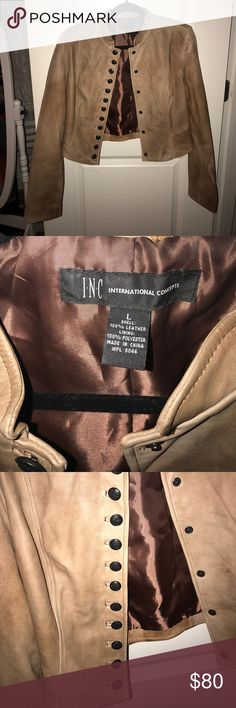 INC International Concepts leather jacket INC International Concepts leather jacket size L, gently used condition! This is a 100% leather jacket (see pic for tag) and is nicely lined. It is a a light brown/tan color, with some discoloring to the leather from wear which makes it look that much more authentic! Gorgeous piece to add to your wardrobe for fall! INC International Concepts Jackets & Coats