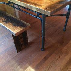My first reclaimed lumber project. Building Furniture, Pipe Furniture, Industrial Furniture, Industrial Pipe, Reclaimed Lumber, Farmhouse Table, Entryway Tables, Barn, Diy Crafts