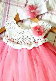 Ravelry: Project Gallery for Empire Waist Crochet Tutu Dress with Cluster Pearl…