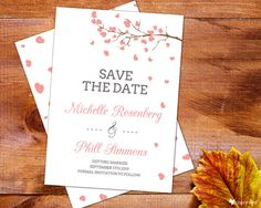 Drifting Hearts Save The Date - garden, floral, nature, hearts, tree, beautiful, template, free digital sample, custom made, customize