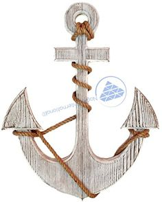 Premium Pine Nautical Antique Colored Sailors Decor Anchor With Vintage Rope  Wall Hanging  Nagina International 24 Inches Antique White >>> Want additional info? Click on the image.
