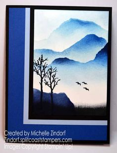 Hand stamped Blue Mountain View – Stampin' Up! Card created by Michelle Zindorf - My Meadow Stamp Set Blue Mountain, Mountain View, Gold Foil Paper, Masculine Birthday Cards, Customer Appreciation, Yet To Come, Get Well Cards, Mountain Landscape, Blank Cards