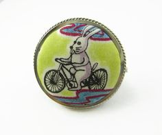 "Gorgeous upcycled vintage silver brooch filled with rare swatch of Grayson Perry ""Flo"" fabric by Liberty of London by ohyouhandsomedevil on Etsy"