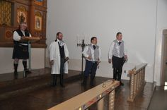 Officiant, my husband, and his groomsmen waiting for the ladies