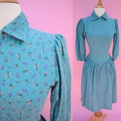 The Mary Ingalls - Vintage 70s Teal Green Blue Floral Praire Dress Costume Womans Size Small
