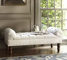 Lorraine Tufted Upholstered Bench, Full, Twill Cadet Navy with Espresso stain At Pottery Barn - Furniture - Benches, Cubes & Trunks Tufted Storage Bench, Bench With Storage, Upholstered Bench, Bedroom Storage, Storage Benches, Entryway Storage, Tufted Chair, Furniture Upholstery, Accent Furniture