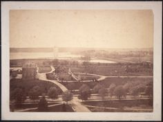 Here is a series of photographs we have not seen before. This is a five-part panorama showing the mall area and surrounding buildings, from the Smithsonian Castle. Left section shows the Washington Monument under construction in background, with Agriculture Department at left. The left center and center sections show the B Street (now Constitution Avenue)