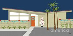 """Mid Century Christmas House"" by Donna Mibus Frames On Wall, Framed Wall Art, Wall Art Prints, Wall Art For Sale, Custom Canvas, Retro Art, Mid Century Design, Innovation Design, Home Art"