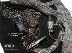 @jordwoodwatches Fieldcrest in Dark Sandalwood with a few of my darker favourite things.  More photos and details on my blog review: http://www.alacqueredaffair.com/Jord-Wood-Watch-Floral-Cogs-Mani-38551780  #fashion #ootd #jordwatch