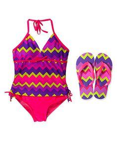 Fuchsia & Purple Zigzag Halter Tankini & Flip-Flop - Girls by Jump'N Splash #zulily #zulilyfinds