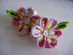 kanzashi flower set hair clip, kanzashi, kanzashi flower, pink flower by CarmelasDesigns on Etsy