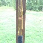 Anniversary Walking Stick Close up - Hand Stamped Wedding Band - 550 Paracord Wrapped Handgrip #carving #walking stick