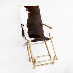 1930's Oak Deck Chair with Cowhide $700 - Toronto http://furnishly.com/1930-s-oak-deck-chair-with-cowhide.html
