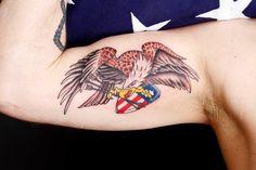 American Traditional Eagle Tattoo - By Tom Salwoski of Chroma Tattoo, Michigan
