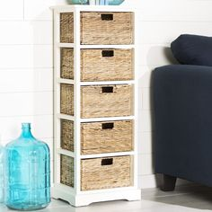 Beachcrest Home Vedette 5 Basket Accent Chest Color: Distressed White Cubby Storage, Storage Baskets, Storage Spaces, Tall Cabinet Storage, Storage Chest, Shoe Storage, Storage Ideas, Accent Chest, Dark Furniture