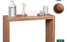 Wohnling Table console bois massif design Console Bureau 115x 40cm style maison de campagne de travail table bois naturel moderne, Bois,…