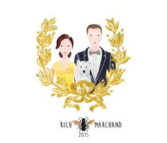 Digital Custom Wedding Family Portrait Illustration - Cartoon Family Art - Wedding Gift - Family Gift - Family Poster - Home Decor Wall Art